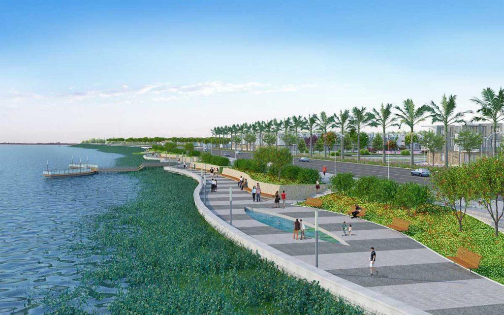 Lối đi bộ của khu dự án bên bờ sông Soài Rạp