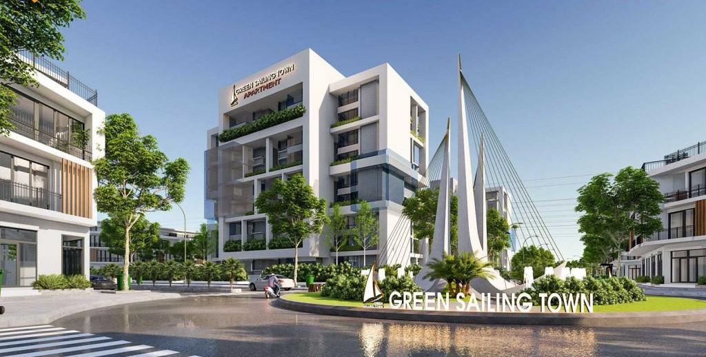 Quảng trường trung tâm và biểu tượng cánh buồm của dự án Green Sailing Town